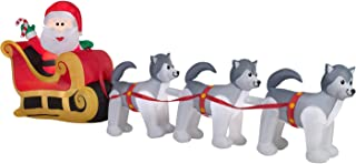 ghi Christmas Inflatable Santa In Sleigh Pulled By Husky Dog Team By Gemmy