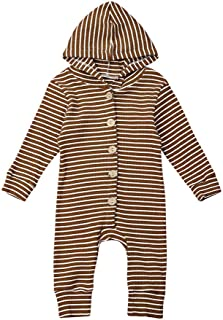 iLOOSKR Infant Baby Boys Girls Warm Long Sleeve Striped Print Romper Jumpsuit