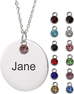HUAN XUN Custom Name Necklace with Birthstone Engraved Disc Monogram Initial
