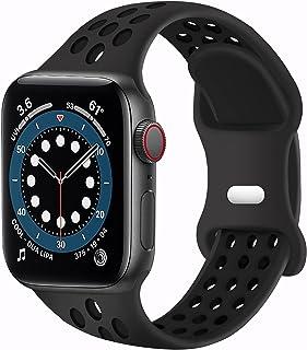 بندهای ورزشی SVISVIPA سازگار برای بندهای ساعت مچی اپل واچ 42 میلیمتر 44 میلی متر ، تنفس نرم سیلیکونی زنانه قابل تعویض مردانه سازگار با iWatch Series SE / 6/5/4/3/2/1 ، سیاه آنتراکیت