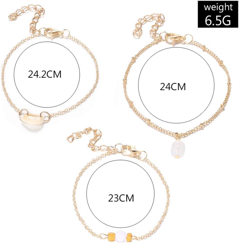Cngstar Seashell Ankle Bracelet Chain Set Boho Anklet Jewelry Adjustable Shell Bead Opal Anklet for Women