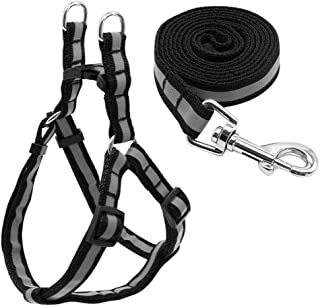 7 Colors Nylon Reflective Dog Harness Leash Lead Set For Small Medium Dogs Puppy Chihuahua Yorkie S M Joys (Color : Black,...