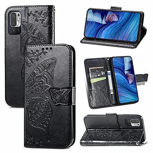 Caso compatible con Redmi Note 10 5G, Funda protectora de la cartera de la cartera de cuero sintético de relieve de la mariposa con las ranuras y el soporte y el cierre magnético para redmi Note 10 5g