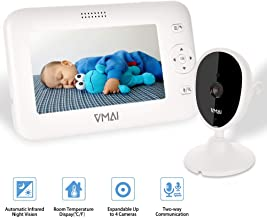 "Video Baby Monitor, 4.3"" Baby Monitor with Camera, Infrared Night Vision, Temperature Sensor, 2-Way Talk, VOX Mode, Wall-Mounted & Countertop, Support up to 4 Cameras & 1000ft Stable Transmission"
