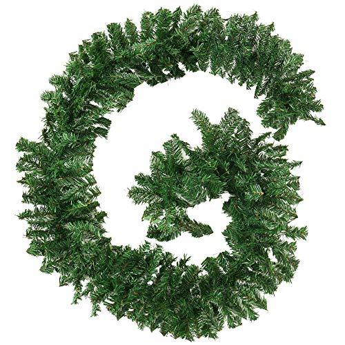 2.7M/9FT Grüne Weihnachtsgirlande Künstliche Tannengirlande Künstlich Weihnachtsschmuck Christmas Garland Outdoor Hängende Girlande Deko für Treppe Hochzeitsfeier Weihnachtsdekoration 220 Kopf
