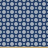 ABAKUHAUS Blau Stoff als Meterware, Kariertes folklorisches