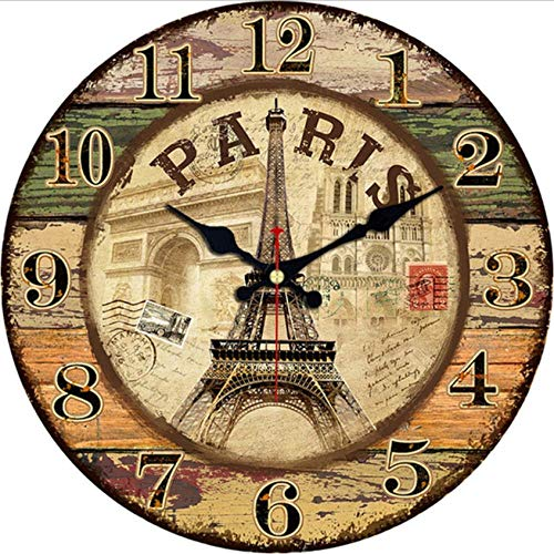 Hyllbb Vintage Vintage French Country Wall Clock Clock Paris Colorful Country Arabic Style Style Design Round Wooden Round Decorative Clock (Retro Brown)