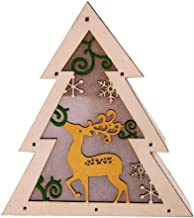 Socialme-EU Adorno de Madera Luminoso Decoración Navideña Luces LED Ciervo Estrella Árbol Libro Forma Redonda Navidad Decorativo(Arbol)