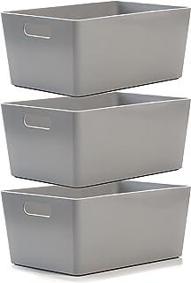 Lot de 3 Paniers de studio en plastique gris - Boîtes de rangement pour la maison ou le bureau - Convient pour les étagère...