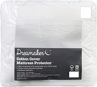 Dreamaker Quilted Cotton Cover Mattress Protector   100GSM Top Layer, Hollotex Polyester Fibre Fill, Easy Care, Machine Wa...