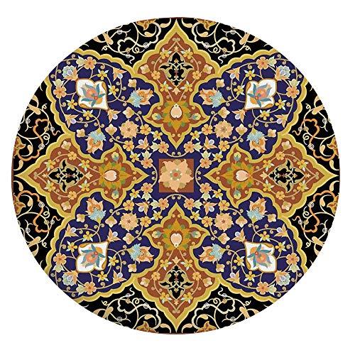 Mantel ajustable de poliéster con bordes elásticos, diseño de mosaico árabe islámico floral del sureste antiguo Oriente Otomano para mesas redondas de 24 pulgadas, para comedores y cocinas multicolor