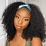 Headband Wigs for Black Women Human Hair Afro Kinky Curly Half Wigs for Black Women 18 Inch Glueless Non Lacefront Wigs With Real Hair for Women Natural Color