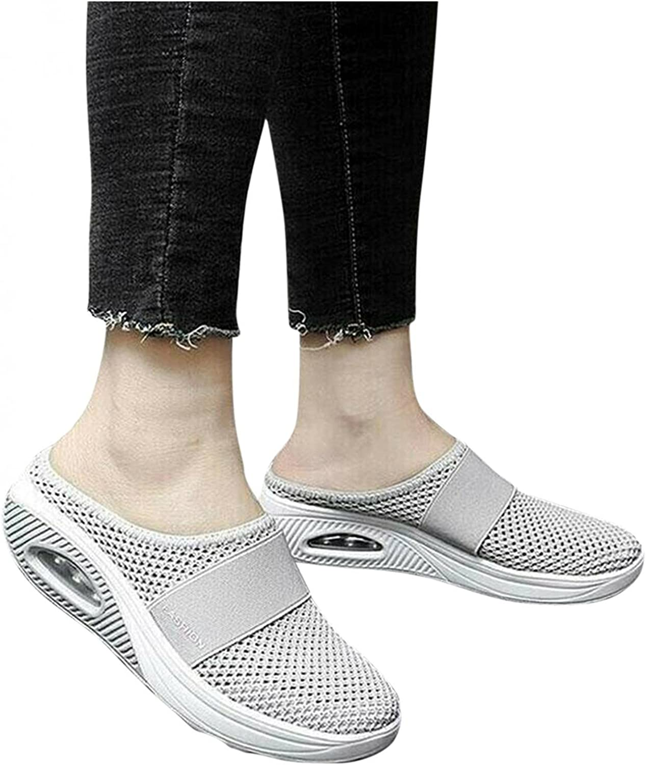 Hbeylia Walking Running Mule Fashion Sneakers For Women Breathable Mesh Air Cushion Slip On Athletic Sport Shoes Fashion Casual Platform Wedge Workout Gym Fitness Slides Work Nurse Sliders Shoes