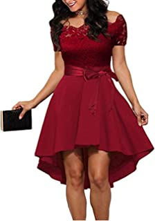 Amandina Luxe Women Lace Patchwork Slash Neck Short Sleeve Sashes Tunic Dress Evening Party Bridesmaid Midi Dresses