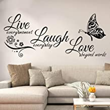 Inspirational Quotes Wall Sticker,Live Every Moment Laugh Every Day Love Beyond Words, Rohome Waterproof PVC Peel and Stick, Sofa Background Living Room Home Room Decorations, Butterfly DIY Wall Art