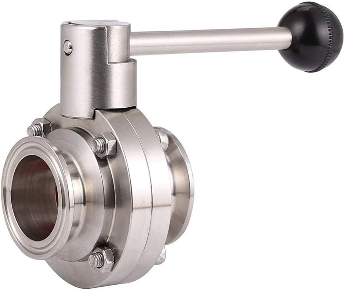 LOZOME OD 2 Sanitary Butterfly Valve with Pull Handle 304 Stainless Steel Tri Clamp Clover