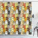 ABAKUHAUS Gatos Cortina de Baño, De Dibujos Animados de Color Divertido, Material Resistente al Agua Durable Estampa Digital, 175 x 220 cm, Multicolor
