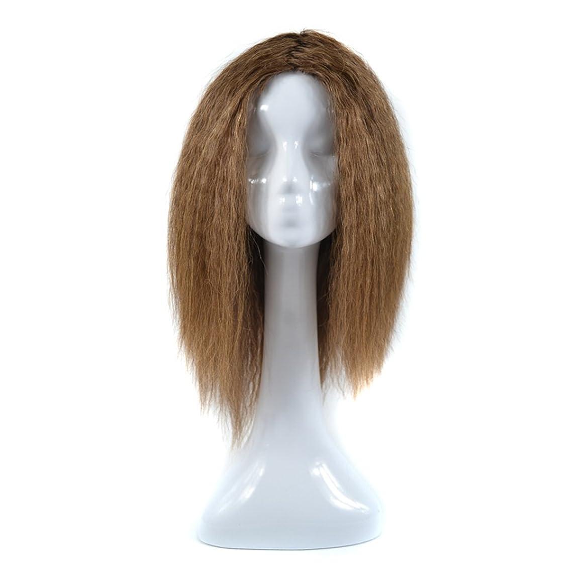 の間で酸素ブレーキDoyvanntgo トウモロコシホットロングカーリーウィッグ女性のための人間の髪リアルなナチュラルヘア(20inch /ライトブラウン、20inch /ブラウンブラック)のための中間点Bangと非鉄染めシルクかつら (Color : Brown black(20inch))