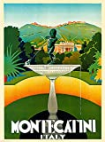 A SLICE IN TIME 1930 Montecatini Italy Art Vintage Travel Advertisement Poster Print. Measures 10 x 13.5 inches