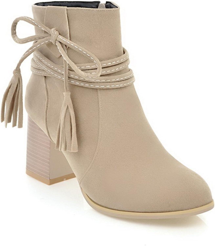 BalaMasa Womens Ankle-High Fringed Bows Zip Urethane Boots ABL10653