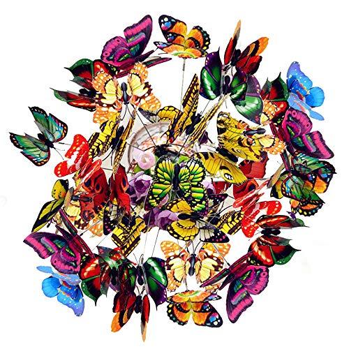 Colorful Garden Butterflies, 50PCS Outdoor Large Metal Butterfly,...