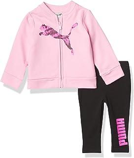 جاكت وسروال ضيق للفتيات الصغيرات من PUMA باللون الوردي، 6-9M