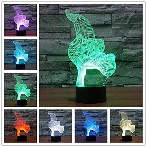 Lámpara de mesa de luz nocturna 3D LED RGB cumpleaños regalo para niños decoración del hogar dibujos animados lindo mar Animal salvaje monstruo bestia pez camello
