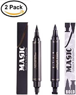 Double Ends Waterproof Black Liquid Eyeliner Stamp 2 PC MakeUp Pencil (Thin with Thick)