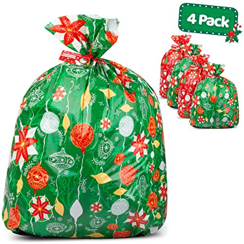 "Large Christmas Gift Bags – Set of 4 Xmas Present 36""x44"" Jumbo Extra Large Wrapping - Plastic Giant Gift Bags for Huge Gifts - Heavy Duty Big Gift Sack Set with Tags & String Ties"