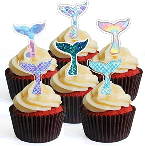 12 Mermaid Tails PRECUT Edible Cupcake Toppers Stand UpLie Flat Wafer Cake DecorationS
