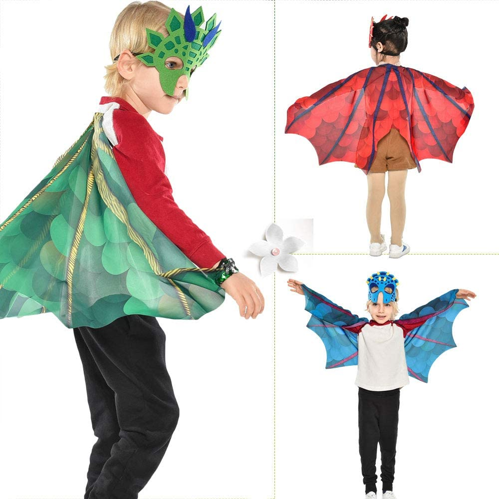 Toddler Kids-Dinosaur Wings Costume Cape and Mask for Boys Girls Dragon Dress Up Party Favors