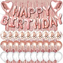 PartyForever Rose Gold Happy Birthday Balloons Banner 16inch Tall Set for Her Birthday Party Decorations and Supplies Kit ...