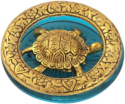 Handicrafts Paradise Tortoise in Metal and Sky Blue Glass , Golden