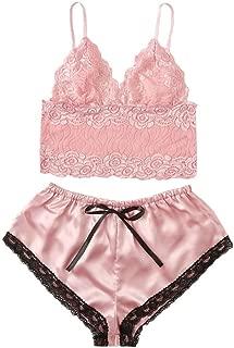 YKARITIANNA Sexy Lingerie for Sex, Women Satin Lace Silk Camisole Shorts Set Sleepwear Pajamas Lingerie Underwear