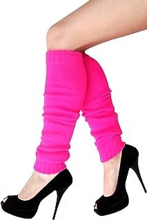 krautwear Damen Mädchen Schweißbänder Stirnband 2 Armbänder Beinstulpen Handschuhe 80er Jahre Set Neon Pink Stulpen Pink