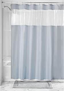 InterDesign Fabric Shower Curtain with Clear Window for Bathroom 72 inch x 72 inch 26625