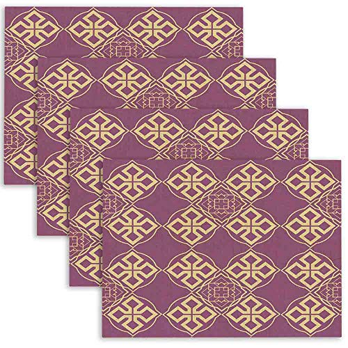 Douecish Halloween Placemats,Washable Gold Amp Purple Table Placemats for Kitchen,Dining Table,Dining Room,18X12,Set of 4