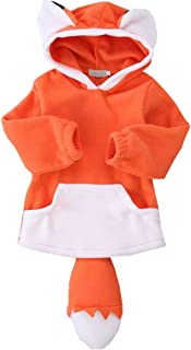 CYNDIE Baby Girl Boy Fox Shape Design Pattern Thick Cotton-Padded Hooded Coat Outwear Warm Clothes for Winter