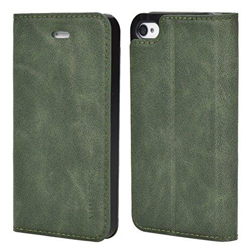 Mulbess Cover per iPhone 4s, Custodia Pelle con Funzione Stand per iPhone 4 / 4s Flip Case, Verde