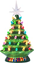 10 Inch Pre-Lit Hand-Painted Ceramic Vintage Tabletop Artificial Tree Decor with Multicolored Lights, Star Topper Traditional Decoration Green