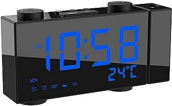 Digitale projectiewekker, radiogestuurde draadloze wekker met dubbele alarmsluimer, 4-standen dimmer, binnen- en buitentem...