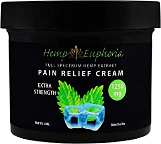 Hemp Oil Organic Deep Tissue Relief Cream - 1250MG - 4 oz Non GMO/THC Free - Extra Strength Menthol Ice - Relief from Infl...