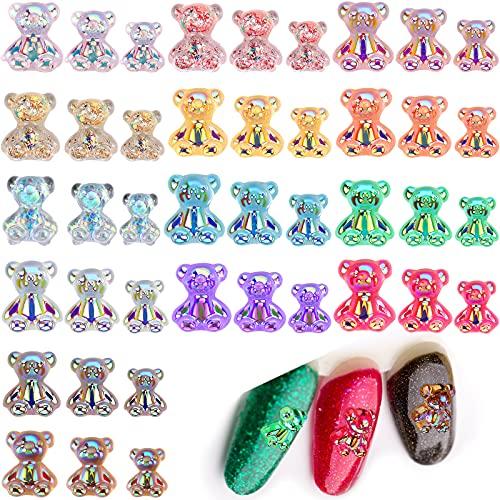 168 Decoraciones de Arte de Uñas de Oso de Resina 3D Cristal...