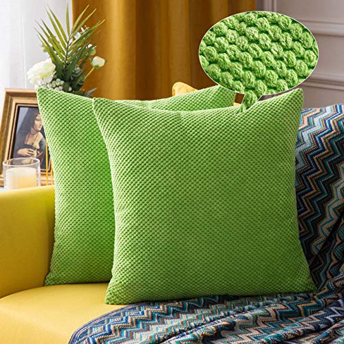 MIULEE Corduroy Granule Christmas Throw Pillow Covers Soft Pellets Solid Decorative Square Cushion Case for Christmas Sofa Bedroom Green 16'x16'2 Pieces