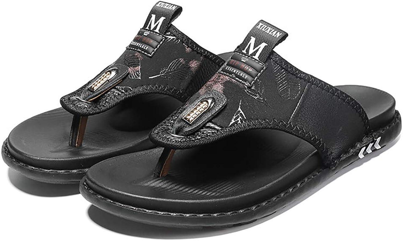Herren Leder Flip-Flops Thongs Thongs Thongs Komfort rutschfeste Hausschuhe für Pool Sandalen Outdoor Beach Casual Schuhe,schwarz,40  3b5789
