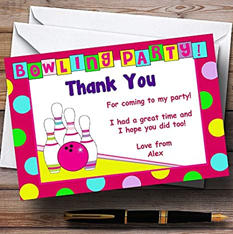Bowling Pink Personalized Birthday Party Thank You Cards