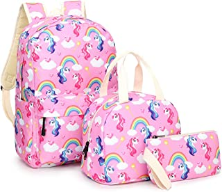 Girls Backpack with Lunch Bag Pencil case, Canvas 3 in 1 School Bags for Grade Middle High School Teen Girls