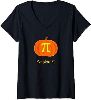 Womens Pumpkin Pi Halloween math geek design V-Neck T-Shirt