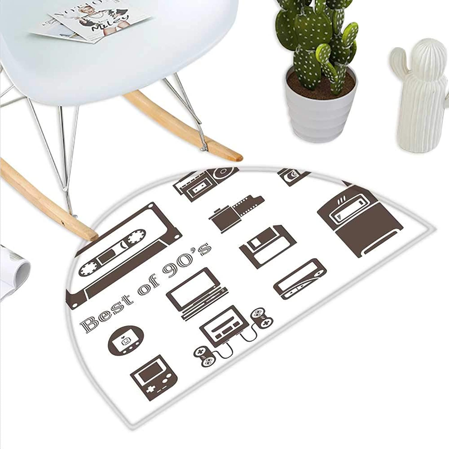 90s Semicircle Doormat Gadget of 90s Icons Pattern with Desktop Computer Video Game Joystick Nostalgia Theme Print Halfmoon doormats H 35.4  xD 53.1  Brown