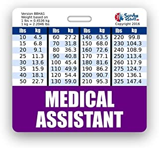 Medical Assistant Badge Buddy Horizontal w/Height & Weight Conversion Charts (Standard, Purple)